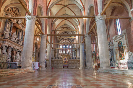 VENICE, ITALY - MARCH 12, 2014  Nave of church Santa Maria Gloriosa dei Frari