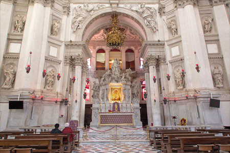 VENICE, ITALY - MARCH 13, 2014  Main altar of church Santa Maria della Salute designed by Baldassare Longhena in 17  cent  with the  Madonna the mediator  icon