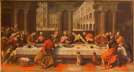 eucharistie: VENISE, ITALIE - 13 mars 2014: dernier dîner du Christ (Ultima Cena) par Cesare Conegliano (1583) à l'église Chiesa dei Santi. XII Apostoli