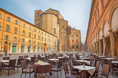 BOLOGNA, ITALY - MARCH 16, 2014: Piazza Galvani square with the Dom or San Petronio church in Sunday morning.
