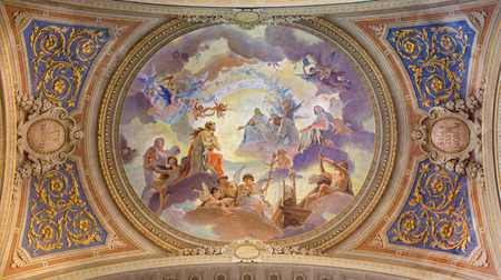 BOLOGNA, ITALY - MARCH 17, 2014  Ceiling restored fresco in baroque church Saint Mary Magdalene or Santa Maria Maddalena with the motive of assumption of the saint