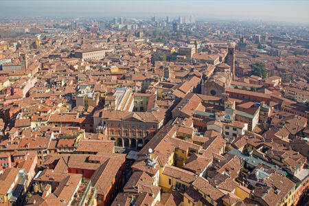 san giacomo: Bologna - Outlook from Torre Asienlli to east in morning with the church San Giacomo Maggiore Stock Photo