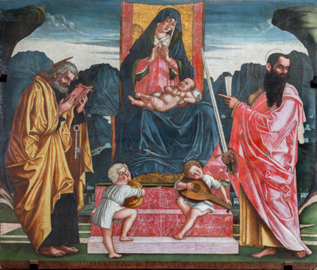 TREVISO, ITALY - MARCH 18, 2014  Madonna with the child and apostles st  Peter and Paul by A  Vivarini from 15  cent  in saint Nicholas or San Nicolo church