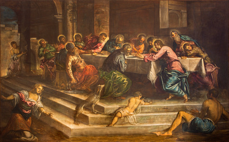 last supper: VENICE, ITALY - MARCH 12, 2014: Last supper of Christ (Ultima Cena) by Jacopo Robusti (Tintoretto) from years 1579 - 1580 in church Chiesa di San Stefano.
