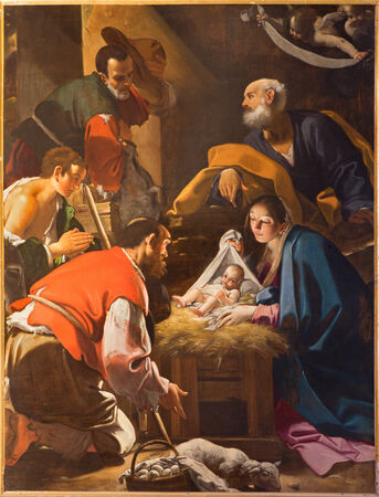BOLOGNA, ITALY - MARCH 16, 2014: The Adoration of the Shepherds paint from Chapel of Nativity by Giacomo Cavedoni (1577 - 1660) in  Saint Paul or Chiesa di San Paolo baroque church. Editoriali
