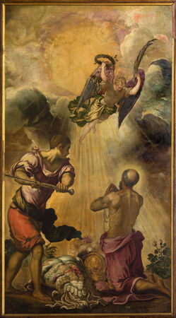 VENICE, ITALY - MARCH 11, 2014: The Decapitation of st. Paul (1556) by Jacopo Robusti (Tintoretto) in presbytery of church Santa Maria dell Orto.