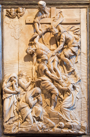 VENICE, ITALY - MARCH 12, 2014:  Deposition of the cross relief by Francesco Penso (Cabianca -1711) from sacristy of church Santa Maria Gloriosa dei Frari.