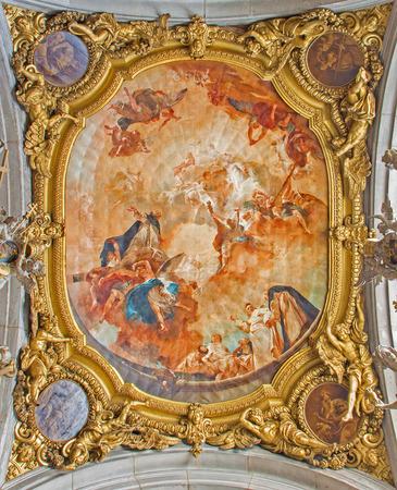 cappella: VENECIA, Italia - marzo 12, 2014: Apoteosis de San. Dominic de ceilling de Cappella di San Domenico de Giambattista Piazzetta 1727 en la Bas�lica di San Giovanni e Paolo.