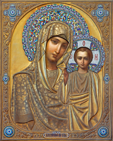 russian: VENICE, ITALY - MARCH 13, 2014: Icon of Madonna with the child from Russian town Kazan in church of San Martino of Saint Martin on Burano island.