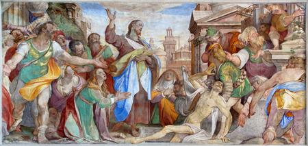 VENICE, ITALY - MARCH 14, 2014: The Resurrection of Lazarus by Battista Franco (nickname IL Semolei 1489 - 1561) in chapel Cappella dei re Magi of Grimani in church San Francesco della Vigna.