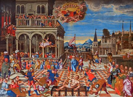 VENICE, ITALY - MARCH 14, 2014:  The martyrdom of st. Lorenzo by Girolamo di Santacroce (1530 - 1556) in church San Francesco della Vigna.