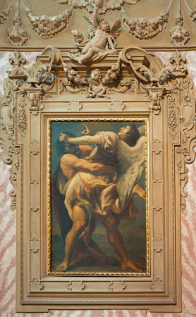 BOLOGNA, ITALY - MARCH 16, 2014: Battle of Jacob with the angel in church Chiesa di San Domneico - Saint Dominic from 18. cent.