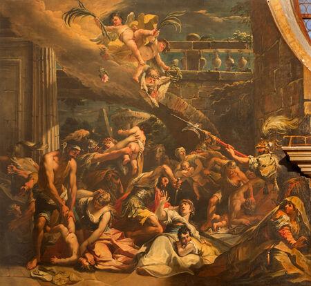 massacre: VENICE, ITALY - MARCH 13, 2014: The Massacre of the Innocents scene (1733) by Gaspare Diziani in church Chiesa di San Stefano. Editorial
