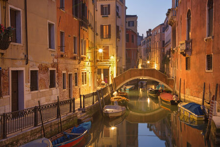 VENICE, ITALY - MARCH 13, 2014: Look to Rio dei Frari canal in morning dusk Editorial