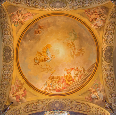 BOLOGNA, ITALY - MARCH 15, 2014: Fresco in side cupola of Dom - Saint Peters baroque church by U. Bigari (1692 - 1776). Pope Celestine, st. Peter and st. Petronio - bishop of Bologna. Editorial