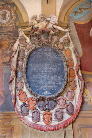 atrium: BOLOGNA, ITALY - MARCH 15, 2014: Epitaph from External atrium of Archiginnasio