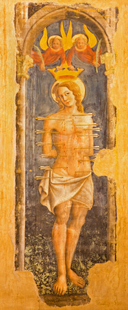 san sebastian: BOLOGNA, ITALY - MARCH 16, 2014: Fresco of st. Sebastian  in church San Giovanni in Monte.