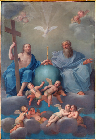 espiritu santo: BOLOGNA, Italia - 17 de marzo 2014: la pintura de la Santísima Trinidad de la iglesia barroca Chiesa Corpus Christi.