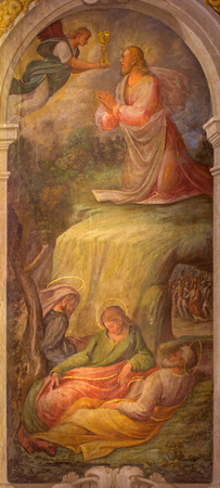 BOLOGNA, ITALY - MARCH 17, 2014: Fresco of Prayer of Jesus in Gethsemane garden in baroque church San Michele in Bosco by Bartolomeo Ramenghi from 15. cent..