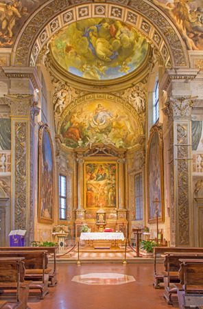 bosco: BOLOGNA, ITALY - MARCH 17, 2014: Presbytery and main altar of church San Michele in Bosco with the paint by Frederico Gnudi (1850) and fresco by C. M. Canuti. Editorial