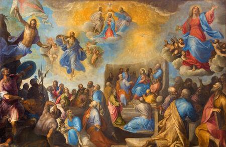 sante: TREVISO, ITALY - MARCH 18, 2014: Paint of I misteri gloriosi - The glorious mysteries by Sante Peranda (1566 - 1638) in saint Nicholas or San Nicolo church.
