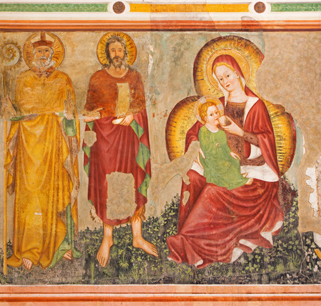15 18: TREVISO, ITALY - MARCH 18, 2014: Fresco of Madonna dell Umiiita -  Madonna of humanity by unknown local painter from 15. cent. in saint Nicholas or San Nicolo church.