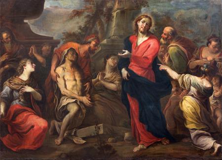 remission: TREVISO, ITALIA - 18 marzo 2014 La resurrezione di Lazzaro di Francesco Pittoni 1710 in San Nicola o San Nicolo chiesa Editoriali