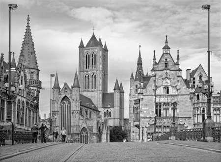 GENT, BELGIUM - JUNE 24, 2012: Look from Saint Michaels bridge to Nicholas church and town hall.