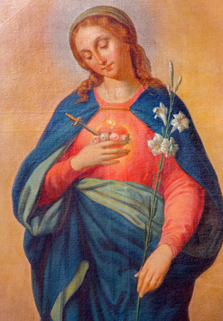 the mary: TRNAVA, SLOVAKIA - MARCH 3, 2014: Heart of Virgin Mary. Paint from side altar from 19. cent.