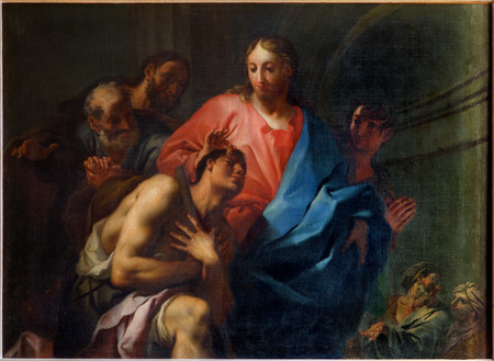 VENICE, ITALY - MARCH 14, 2014: The Miracle of Christ Healing the Blind by Antonio Trevisan (1753) in church San Francesco della Vigna. 新聞圖片