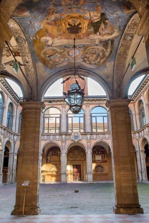 atrium: BOLOGNA, ITALY - MARCH 15, 2014: Ceiling and atrium from the entry to external atrium of Archiginnasio.