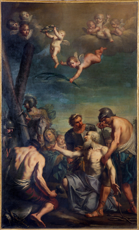 martyrdom: BOLOGNA, ITALY - MARCH 16, 2014: Paint of Coming Martyrdom of the Apostle ( st. Andrew) by Antonio Rossi (1700–1753) in church Chiesa di San Domenico - Saint Dominic