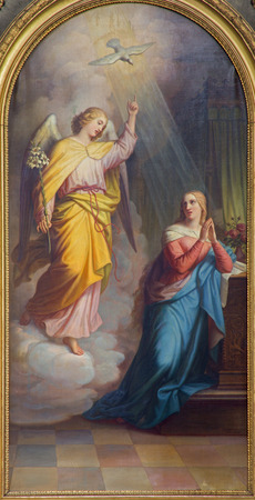 angel gabriel: VIENNA, AUSTRIA - FEBRUARY 17, 2014: Annunciation from main altar of baroque Servitenkirche - church completed in 1670. Editorial