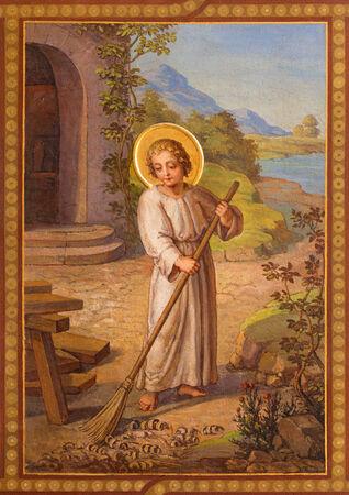 parable: VIENNA, AUSTRIA - FEBRUARY 17, 2014: Fresco of scene from life of little Jesus by Josef Kastner 1906 - 1911 in Carmelites church in Dobling.