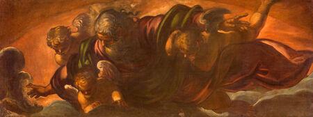 creador: VENECIA, Italia - 11 de marzo 2014: Dios el Padre en la gloria (1590) de Jacopo Robusti (Tintoretto) en la iglesia de Santa María dell Orto. Editorial
