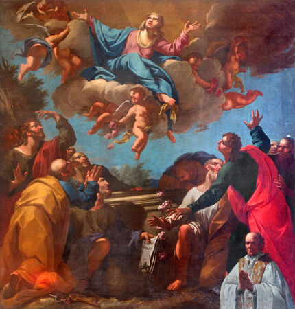 assumption: VENICE, ITALY - MARCH 13, 2014: The Assumption of Virgin Mary paint by in church of San Martino or Saint Martin on Burano island by unknown painter of Venice school (18. cent.) Editorial