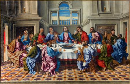 """베니스, 이탈리아 - 2014년 3월 14일 : 롤라 모 다 산타 크로 세 (1,490에서 1,556 사이)에 의해 그리스도 """"울티마시나""""의 최후의 만찬 교회 산 프란체 에디토리얼"""