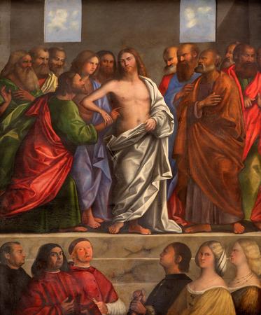 TREVISO, ITALY - MARCH 18, 2014: The Resurrected Christ by Sebastiano del Piombo 1485 - 1547). Side altar of Saint Nicholas or San Nicolo church.