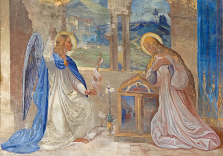 ROZNAVA, SLOVAKIA - APRIL 19, 2014: Fresco of Annunciation by Teodor Kolbay (1863) in the cathedral. Stock Photo - 28122835