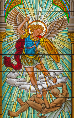 ROZNAVA, SLOVAKIA - APRIL 19, 2014: Archangel Michael from windowpane from 19. cent. in the cathedral.