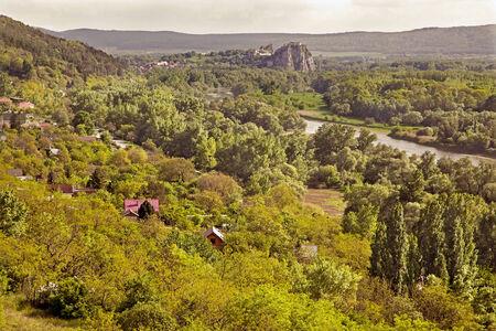 morava: Outlook from Sandberg locality near Bratislava on Devin castle ruins and river Morava - Slovakia