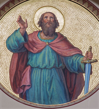 apostle paul: VIENNA, AUSTRIA - JULY 27, 2013: Fresco of st. Paul the apostle from begin of 20. cent. by Josef Kastner from Carmelites church in Dobling