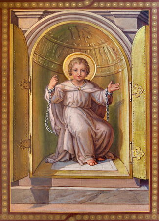 tabernacle: VIENNA, AUSTRIA - FEBRUARY 17, 2014: Fresco of scene - little Jesus from tabernacle in the bond as symbolo of eucharist by Josef Kastner 1906 - 1911 in Carmelites church in Dobling.