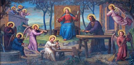VIENNA, AUSTRIA - FEBRUARY 17, 2014: Fresco of Holy Family in workroom by Josef Kastner from 1906 - 1911 in Carmelites church in Dobling.