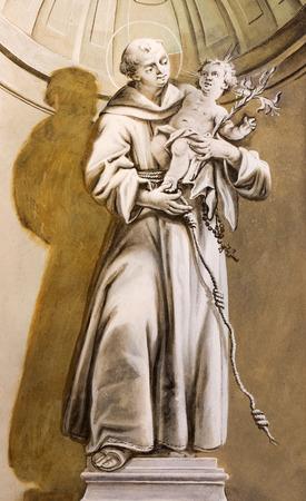 anton: SAINT ANTON, SLOVAKIA - FEBRUARY 26, 2014: Saint Anthony of Padua fresco from chapel in Saint Anton palace by Anton Schmidt from years 1750 - 1752.