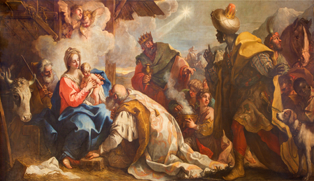 VENICE, ITALY - MARCH 12, 2014: The Adoration of Magi by Antonio Vassilacchi nickname lAliense (1556 - 1629) from Chiesa di San Zaccaria church.