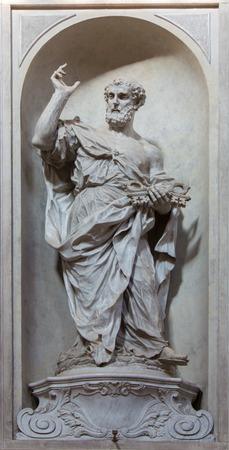 VENICE, ITALY - MARCH 11, 2014: Statue of Saint Peter (1738 - 1755) from church Santa Maria del Rosario (Chiesa dei Gesuati) by Giovani Maria Morlaiter Editorial