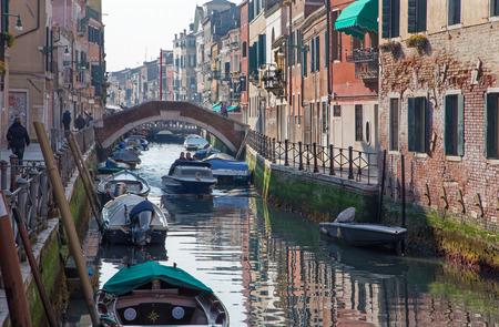 VENICE, ITALY - MARCH 14, 2014: Fundamenta and canal Rio di Santa Anna in evening light