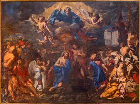 볼로냐, 이탈리아 - 2014년 3월 17일 : 엘리자베타 Sirani 그리스도의 세례 년 1658에서 바로크 양식의 교회 산 지 롤라 모 델라 certosa있다.