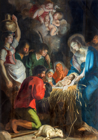 ANTWERP, BELGIUM - SEPTEMBER 5, 2013: The Nativity scene by baroque painter Cornelius de Vos (1584 - 1651) in Saint Pauls church (Paulskerk) Imagens - 28535753